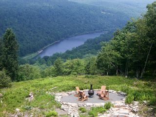 Masthope chalet photo - Fire pit circle overlooking river