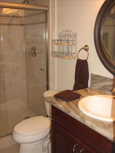 KBK 305 Guest Bath - Cherry, Granite and Custom Tile shower