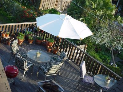 Large Deck with Grills Overlooking the Garden. Perfect for an Evening Dinner!