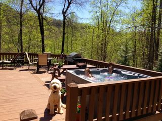 Black Mountain lodge photo - New Hot Tub added in 2013. Enjoy and take in the mountain views while relaxing.