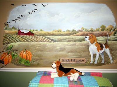 We love Beagles.  The red barn in the mural is a Historical Barn in our region.