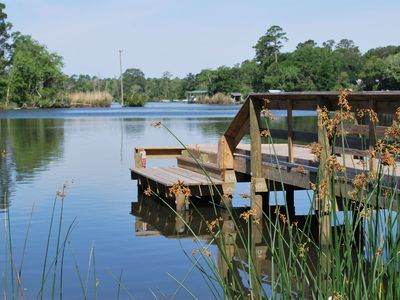 neighborhood pier - swim/kayak platform shown - just steps away from cottage