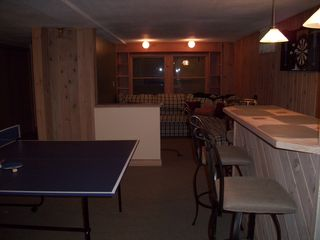Lake Ariel house photo - Lower Level Game/Bar Entertainment/Ping Pong~2nd Large Seating Area with Sofabed