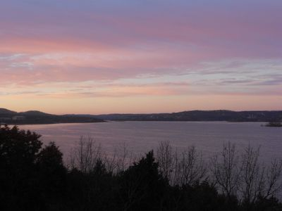 Early morning sky over Table Rock Lake as seen from our condo.