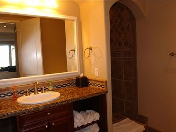 Master bathroom. Huge walkin duel head shower. Jet tub on left side of picture