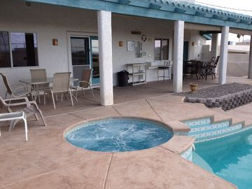 Lake Havasu City house rental - Large patio with outdoor speakers. Spa has one-touch turn on button