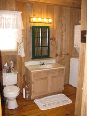 Muddy Pond cabin photo - bathroom - shower around the corner, washer and dryer