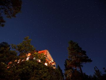 The cabin from down below in early evening. The Milky Way is seen soon after.