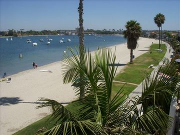 San Diego's Riviera: View of the Bayside Walk boardwalk from penthouse balcony