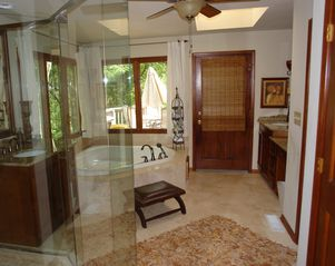 Big Canoe house photo - Renovated master bath with granite counter/travertine tile, glass shower & tub.
