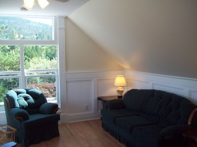 Living Room with Acadia Mountain through window