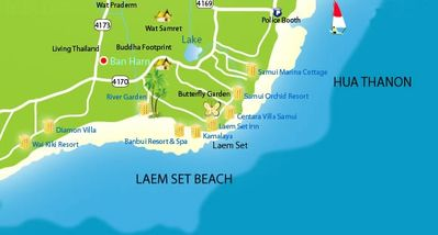 Map of Area - btw Kamalaya and Laem Set Inn