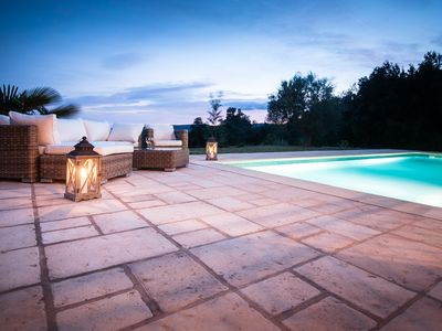 Grimaud villa rental - Outdoor sitting group at pool side.