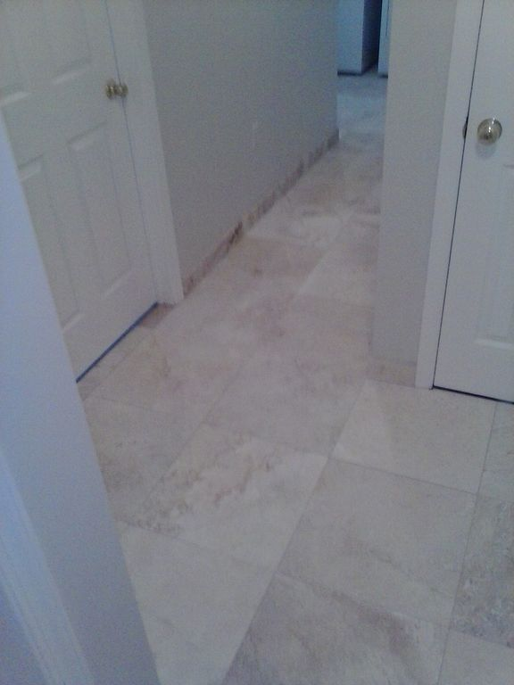 1st floor, new travertine tile