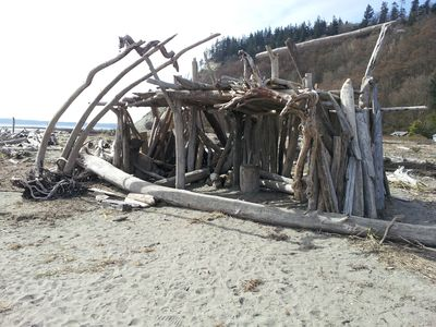 Very common to stumble upon ( or make!) driftwood sculptures on Useless Bay