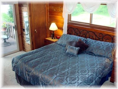 Master Bedroom w/King, 32'' TV/DVD & Sliding Doors to Deck w/nature & Lake View!