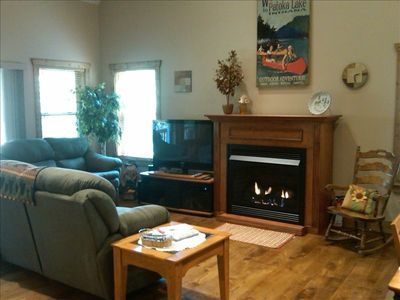 French Lick cabin rental - Living room features 42'' plasma TV Dish Network