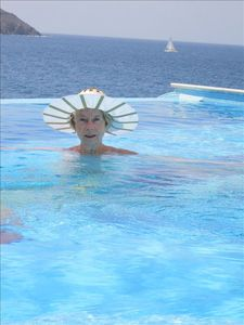A siren in the middle of the pool: picture showing view due West !