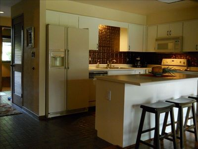 Remodeled Kitchen with original Hawaiian stoneware tilework