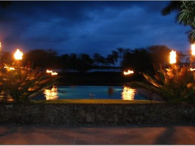 Night at the pool! Torches Lit! You have to be there to really appreciate it!