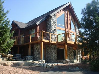 Lake Cle Elum house rental - Mountain View Lodge in early Summer! - Front of the Cabin during the Summer.