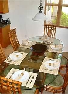 Dinning Room with linens and all the things you need to have a nice meal!