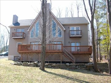 Lake Ariel chalet rental - View form 9th fairway (Golf Course) to back of house