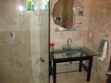 Second Bathroom with glass shower.