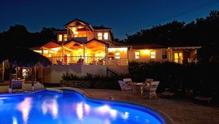 Cap Estate villa photo - Enchanting Pool and Villa Night View. Plenty of Poolside Privacy for Romance