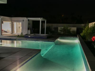The lap pool at night
