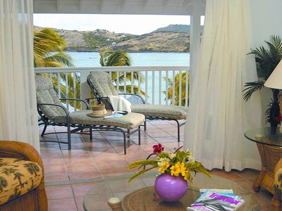 Antigua villa rental - Spacious living room and private balcony