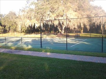 Tennis Court nestled among 100 year old Oak trees.