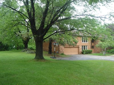Home sits on 5 acres, plenty of privacy, top of the hill on cul de sac.
