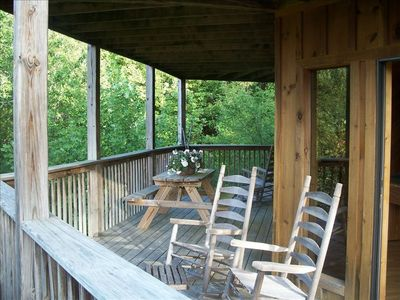 Second Wraparound Porch..Rockers..Picnic Table and Views..Views..Views