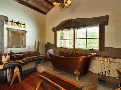 Bathe in extreme luxury! Amazing copper tub. Stone & walnut accents. Views!