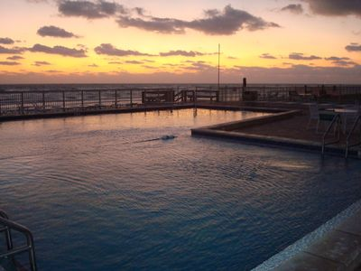 Sunrise over the pool