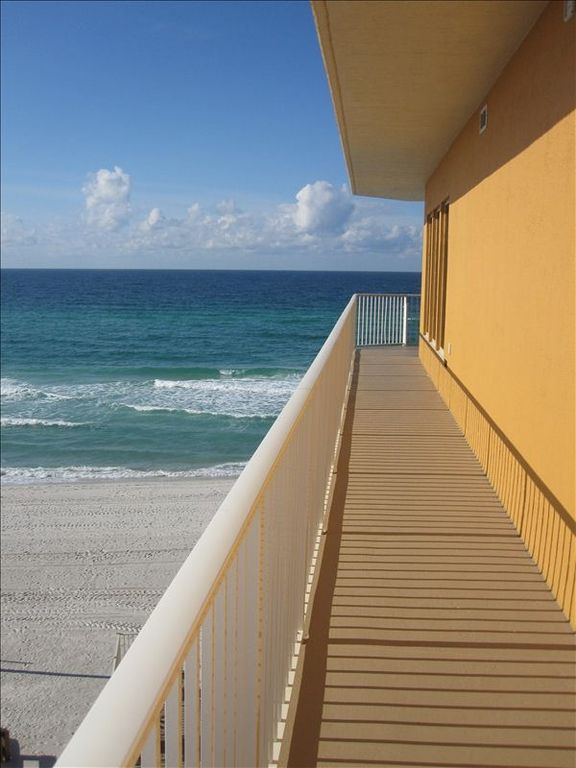 The balcony wraps around the entire condo and all 3 bedrooms have access.