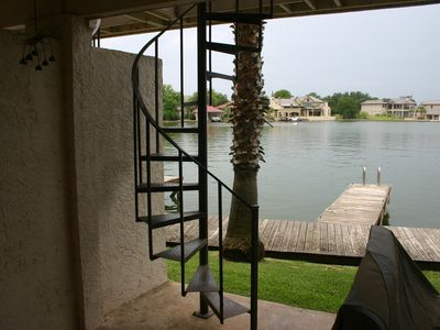 Lower patio with easy access to upper deck or the dock, for fishing or water fun
