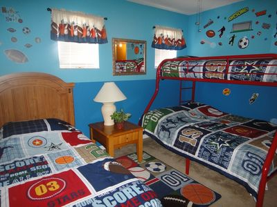 Upstairs boys themed sports bedroom 2nd angle