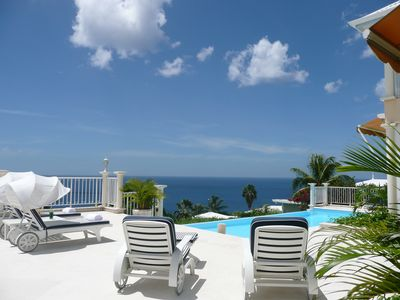 Luxury 5* villa, panoramic Caribbean sea view heated large and private swiming pool