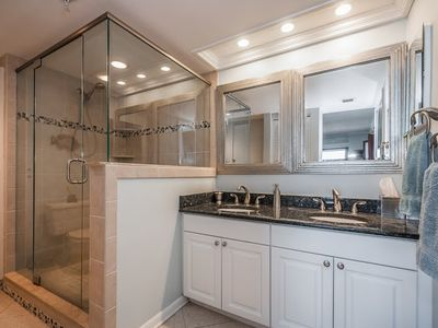 Master bathroom - granite countertops and pristine shower....walk in closet..