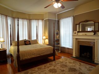 Savannah apartment photo - Bedroom 1/ Fireplace/ Bay windows