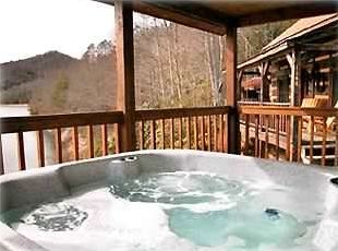 Large, covered hot tub overlooking Nantahala Lake