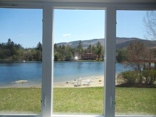North Woodstock condo photo - View from Living Room of the 5 acre spring fed pond with the sandy beach.