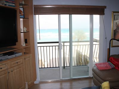 TV on left and balcony then beach