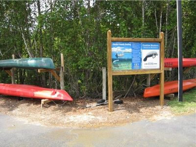 Kayaks and canoes available at the River Club