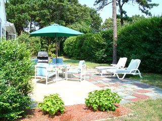 Harwich - Harwichport house photo - rear patio with furniture & grill shown