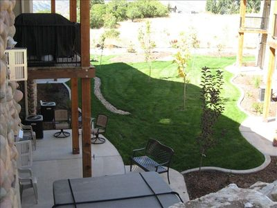 Bird's Eye View of Hot Tub, Patio & Seating, Deck, Grill, Play Area