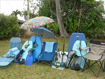 Lots of  beach gear for your use, fishing poles, buggie boards, towels, snorkel