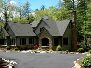 Cashiers estate photo - Charming Stone Accented Front Exterior